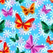 Stock Vector: Colorful seamless butterfly pattern