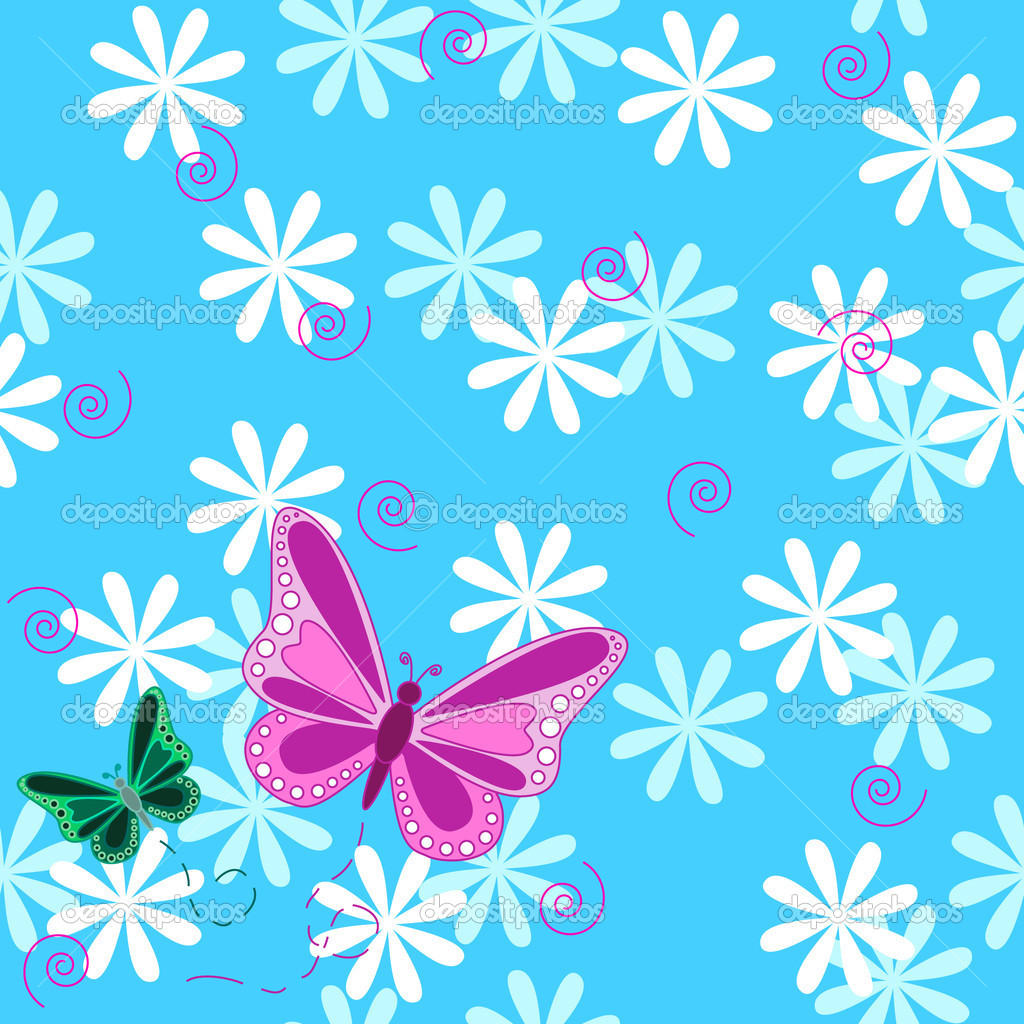 Pink butterfly and flowers seamless pattern stock illustration