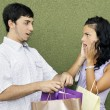 Young couple arguing about shopping — Stock Photo