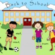 Kids going back to school - Stock Vector