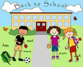 Kids going back to school — Stock Vector
