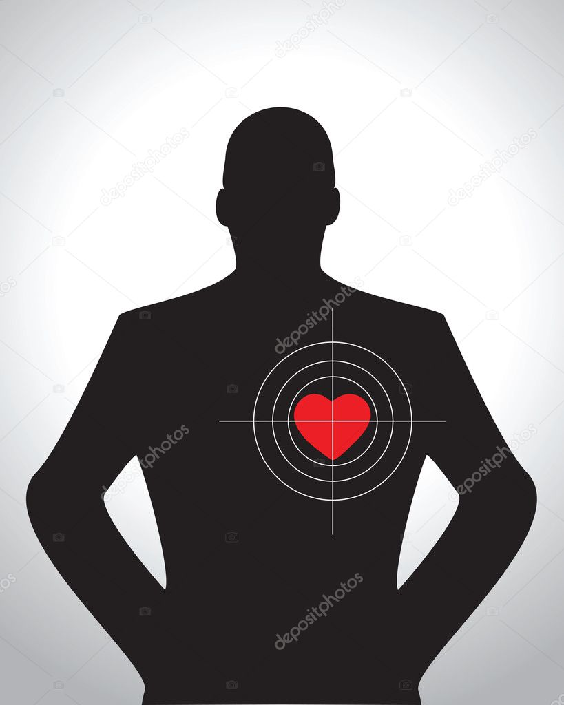 Male silhouette with target aimed at heart — Stock Vector #5643329
