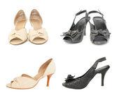 две пары черный и бежевый леди обувь — Стоковое фото