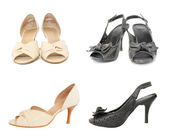 Two pairs of black and beige leather lady shoes — 图库照片