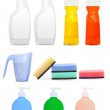 Different colorful unlabeleled cleaning products — Stock Photo