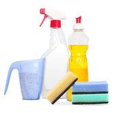 Unlabeleled temizlik ürünleri ayarla — Stok fotoğraf