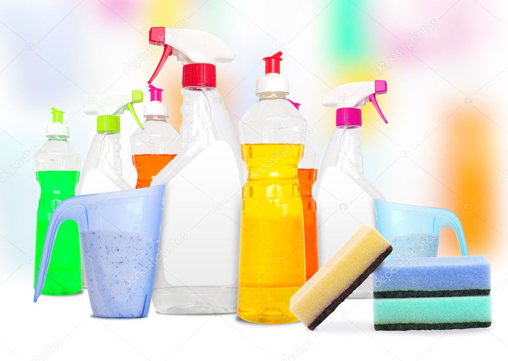 Many colorful bottles of cleaning products and spounges   Stock Photo #6149968