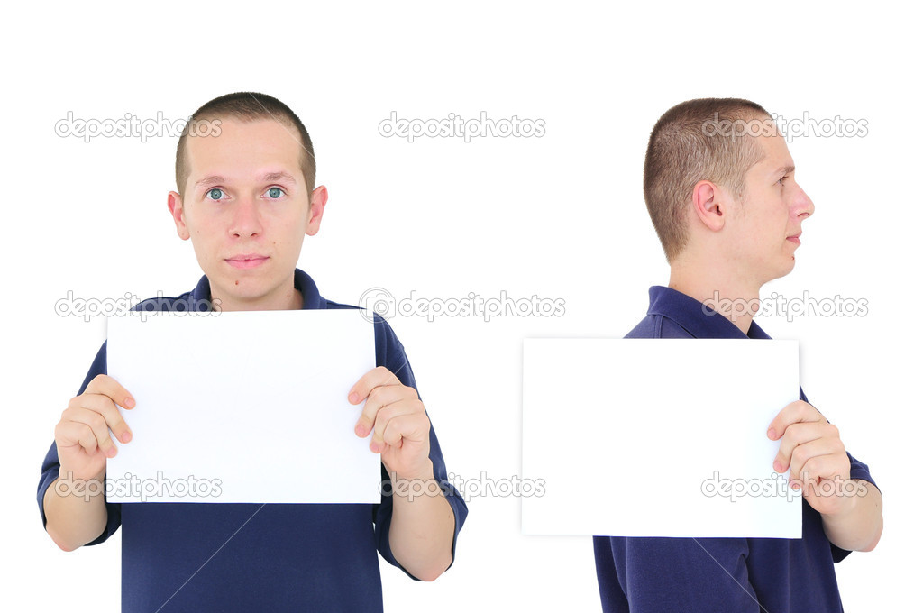 Young man posing for a mug shot with white sign — Stock Photo #6270460