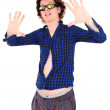 Young man with funny hair and clothes pretending to be a star — Stock Photo