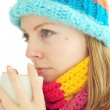 Winter girl with cup — Stock Photo