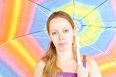 Young woman, holding umbrella — Stock Photo