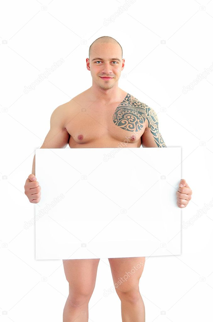 Young muscular man holding white sign smiling — Stock Photo #6299832