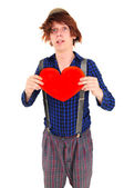 Goffy man holding heart — Stock Photo