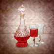 Vintage wine decanter and two glasses — Stock Photo