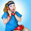 Eighties style teen girl talking on the phone — Stock Photo