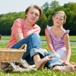 Stock Photo: Two teenagers at picnic