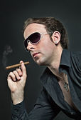 Cool guy with cigar — Stock Photo