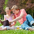 Stock Photo: Teenager siblings reading book