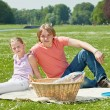 Two teenager siblings at picnic — Stock Photo