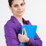 Secretary with plastic folders — Stock Photo