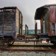 Stock Photo: Abandoned railroad carriages