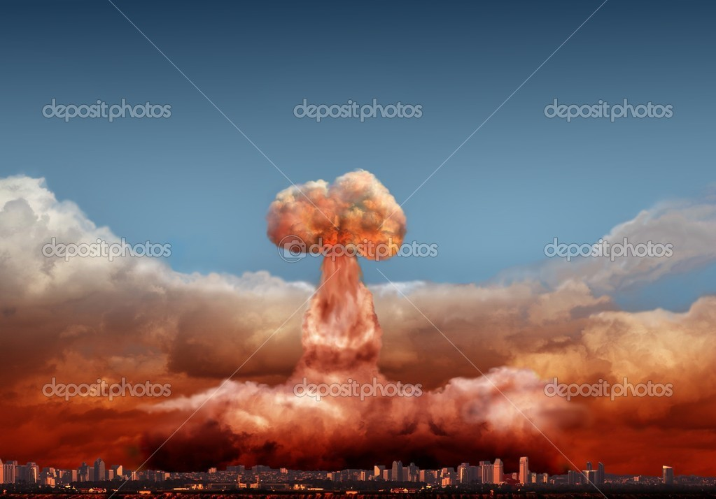 Explosion of atomic bomb over city — Stock Photo #5652549