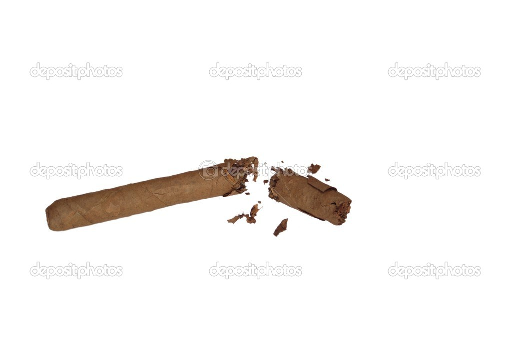 Broken cigar on white background — Stock Photo #5656453