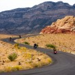 Motorcyclists on a Desert Highway — Stock Photo