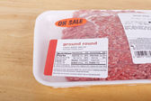 Package of Fresh Ground Round Beef — Stock Photo