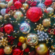 Closeup of Many Christmas Decorations — Стоковая фотография