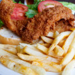 Stock Photo: Fried Fish Sandwich and French Fries
