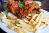 Fried Fish Sandwich and French Fries — Stock Photo