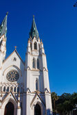 Twin Steeples on White Church — Stock Photo