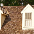 Two Dormers on Wood Shaker Roof - Stock Photo