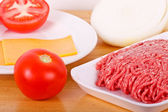 Ground Beef Tomatos Onions and Cheese — Stock Photo