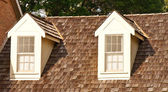 Two Dormers on Wood Shaker Roof — Stock Photo