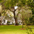 Stock Photo: Small White Church Through Trees and Green Lawn