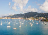 White Sailboats Anchored in St Thomas Bay — Stock Photo