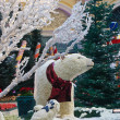 Polar Bear in Christmas Garden — Stock Photo