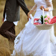 Bride and groom running — Stock Photo