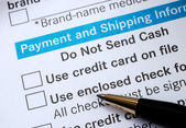 Make payment with Credit card or check concept online shopping — Stock Photo
