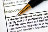Focus on the word undersigned in a document — Stock Photo