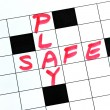 Play Safe text in a cross word puzzle — Foto Stock