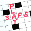 Play Safe text in a cross word puzzle — Стоковая фотография