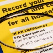 Stock Photo: Provide contact information in case of emergency