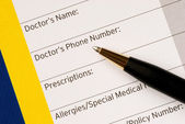 Write the medical information for emergency contact — Stock Photo