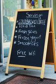 The menu outside a restaurant — Stock Photo