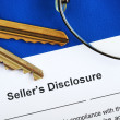 Sign the seller disclosure statement in a real estate transaction — Stock Photo