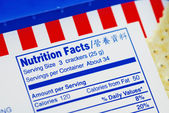 Nutrient Facts of a box of cookies concepts of health diet — Stock Photo