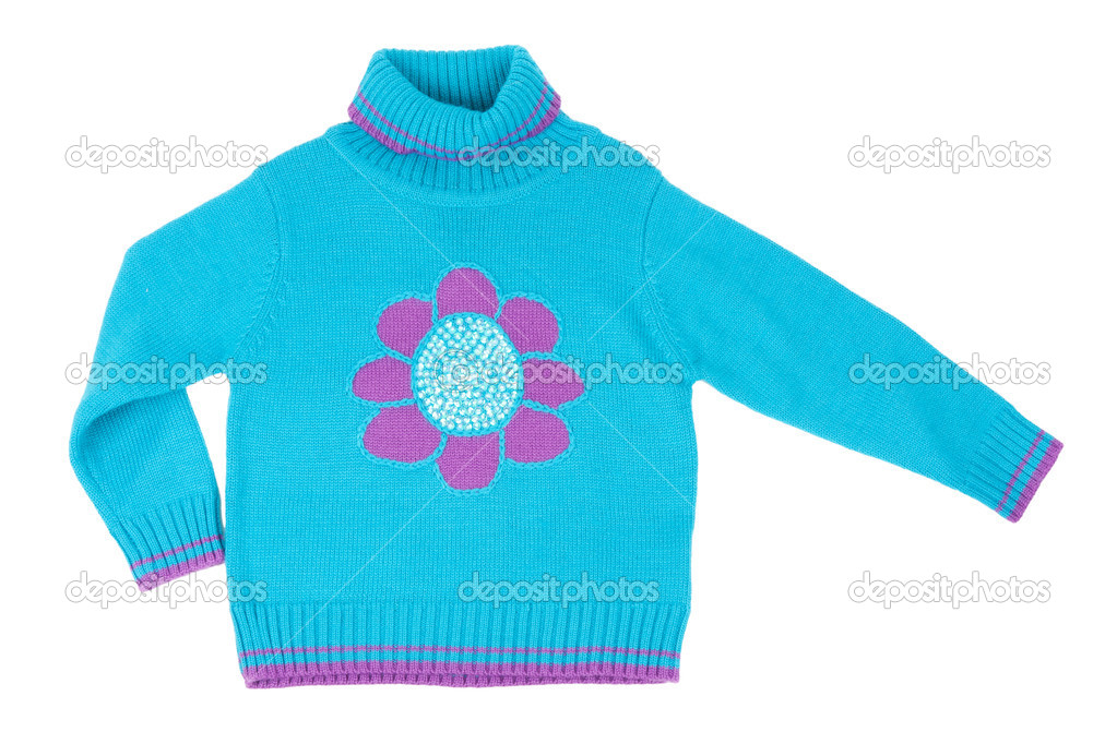 Blue children's knitted sweater with a pattern on a white background — Stock Photo #5511590